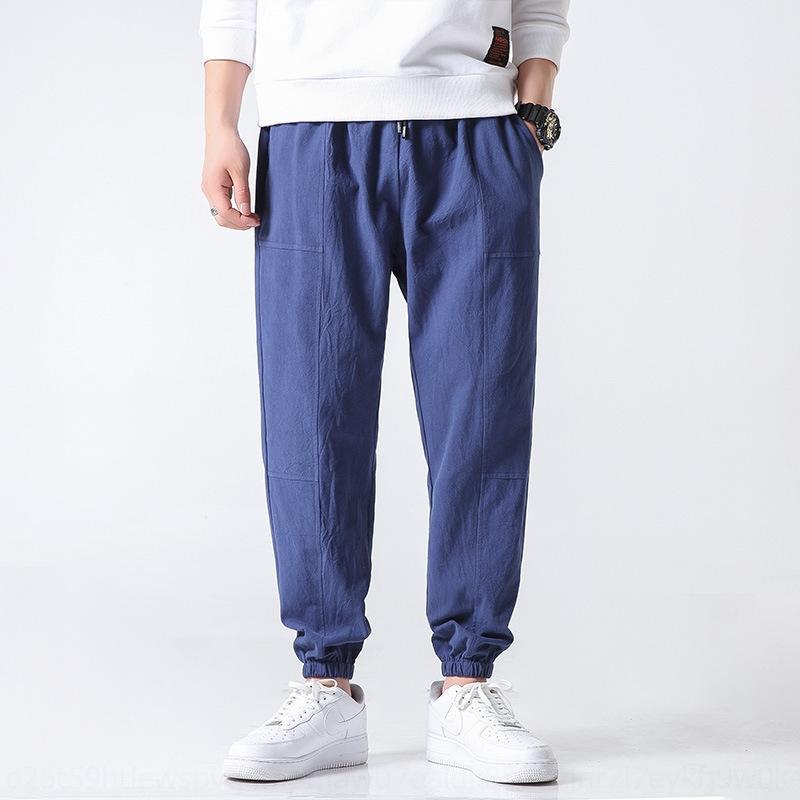 Knöchellangen gestickter Männer große chinesischen Stil trendy losen Baumwoll-Leinen-Harlan feste Hosen Hosen lässig pantsleggings 97bxo
