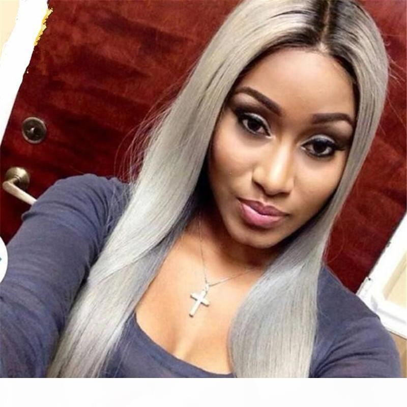 Grey Human Hair Lace Front Wig Ombre With Baby Hair Silky Straight Preplucked Silver Gray Full Lace Wigs Ombre Dark Root For Women