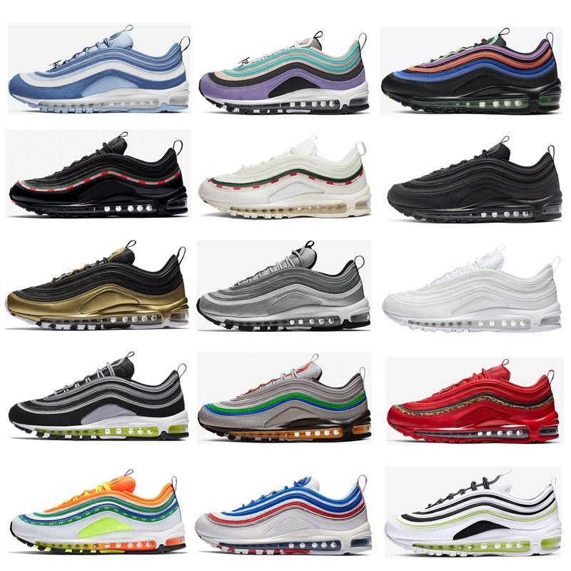 97 رجل الاحذية الثلاثي أسود أبيض 97 ثانية عاكس bred لعبة رويال الرجال النساء الرياضة أحذية رياضية