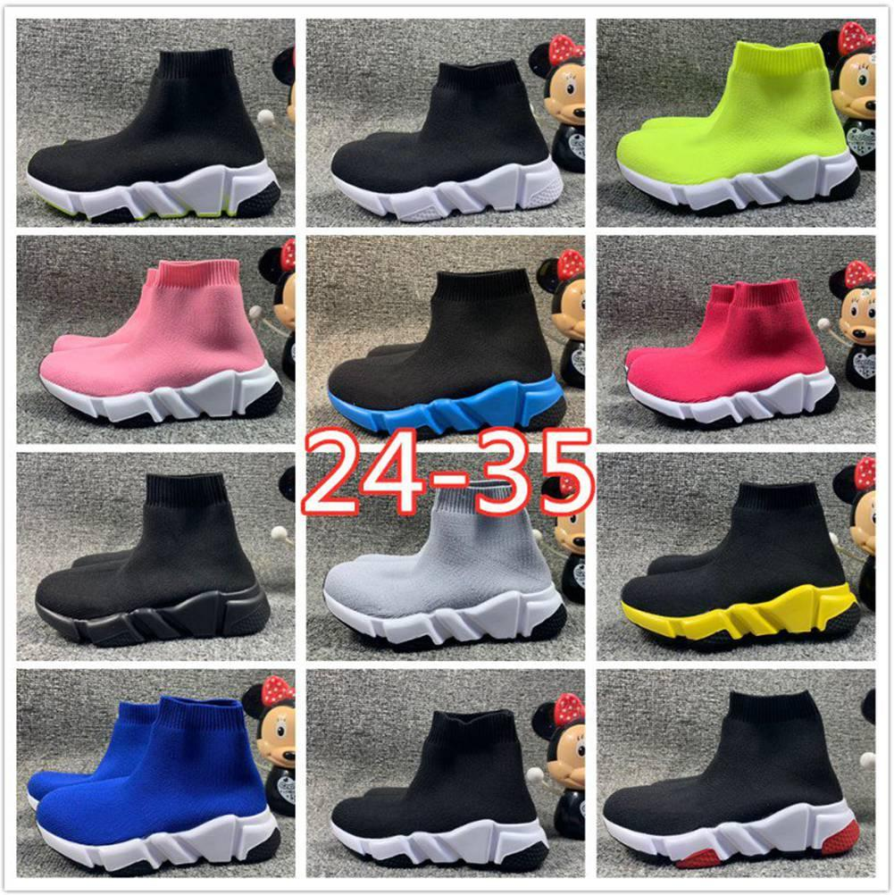 2020 New Speed ​​Trainer Knit Kids Sock Shoes Shoes Toddler Girls Boys Nior Rose Hortensia Triple Black Bianco Rosso Runners Dimensioni 7.5C-3Y 24-35