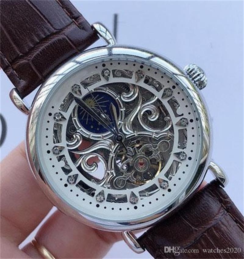 Homens de negócio de diamantes relógios esculpida luxo Desenhador fêmea automática relógio mecânico de couro preto pulseira relógios relógio Modern Hot