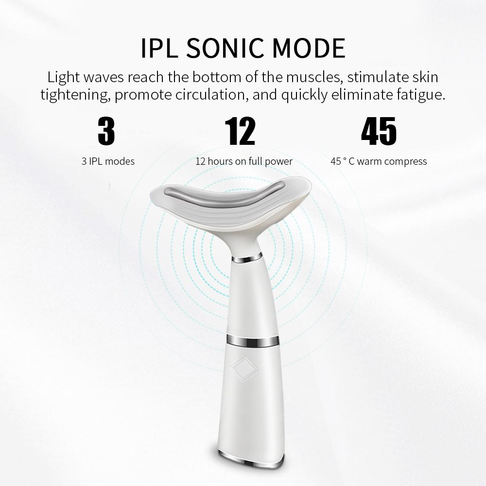 3 Colors LED Photon Therapy Neck and Face Lifting Tool IPL Vibration Skin Tighten Reduce Double Chin Anti-Wrinkle Remove DeviceR