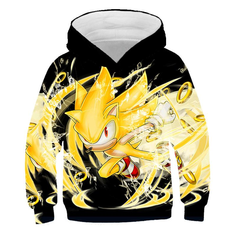 2020 regalos de otoño Kid Niño Niña Ropa de Sonic con capucha de la película de dibujos animados Sonic the Hedgehog ropa de Navidad de cumpleaños de Halloween 4-14Y