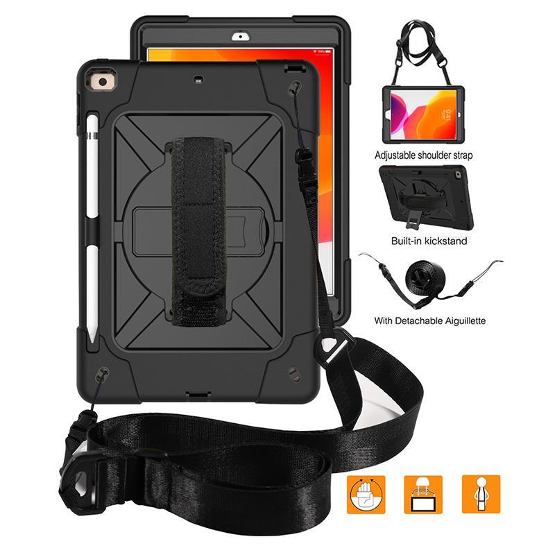 iPad pro 10.2 anti-dérapant Anti-chute anti-vibration de cas de trois-en-un support de contraste de couleur trois housse de protection anti-plaque avec l'épaule