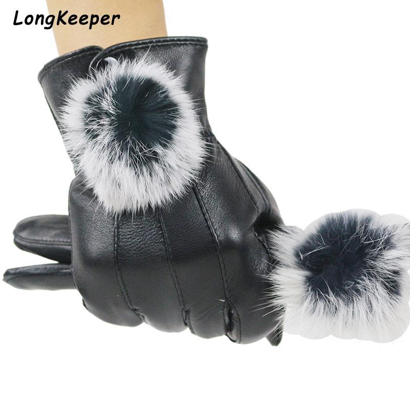 2020 femmes en cuir véritable Gants d'hiver en fausse fourrure pleine doigt mitaines noires Réchauffez Gants en peau de mouton Mode Femme coupe-vent Luvas