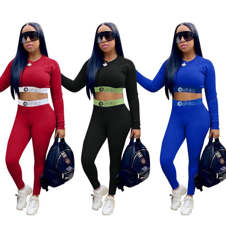 Nouveaux Femmes Tracksuit 2 pièces Ensemble de concepteur Mode Solide Slim Print Lettre Pantalons à manches longues Tenue de sport Mesdames Street Jogging Sport