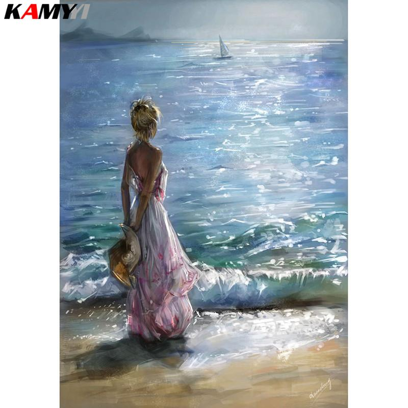 """Full Square/Round Drill 5D DIY Diamond Painting """"girl&seaside sunset"""" 3D Embroidery Cross Stitch Mosaic Home Decor HYY"""
