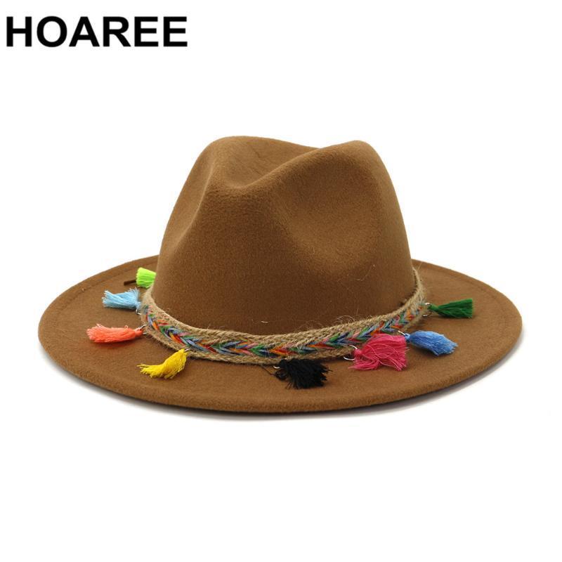 HOAREE Khaki Fedora chapéu de feltro para Cap Trilby Mulheres senhoras do vintage com borlas Outono Inverno Fedora Female Jazz do Panamá Indy Hat