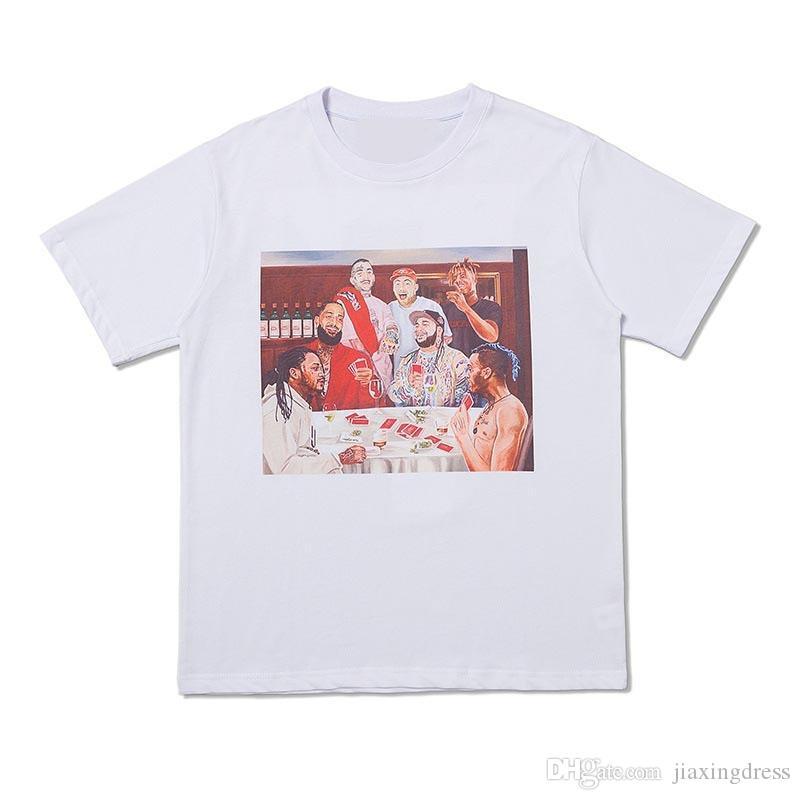 Nouveau mode d'impression des T-shirts Hiroshi hommes rappeur Fujiwara et womens manches courtes T-shirts d'été pour hommes T-shirts Designer