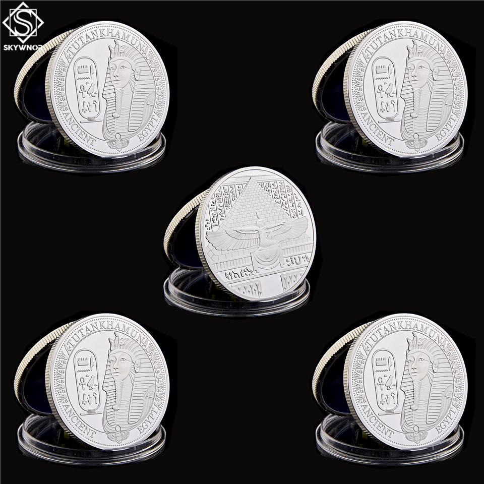5pcs African Antiche piramidi egiziane Sphinx artigianale argento placcato da collezione copia moneta regali