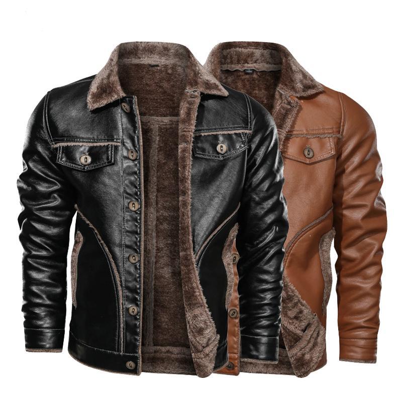 Winter 2020 new men's leather jacket casual plus velvet PU leather coat men's fleece motorcycle retro jacket large size