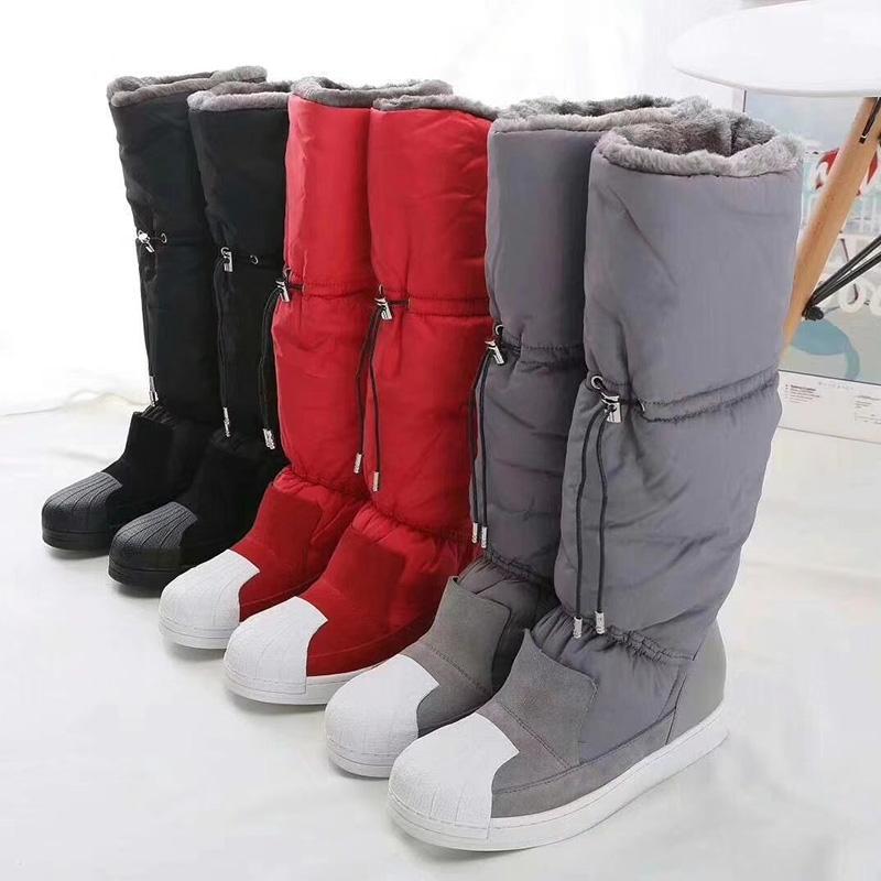 Hivernales élastique Bottes de neige Femme Mi-mollet Bottes en peluche imperméable à cordonnet Shell Toe Flat Plate-forme Casual Botas féminin