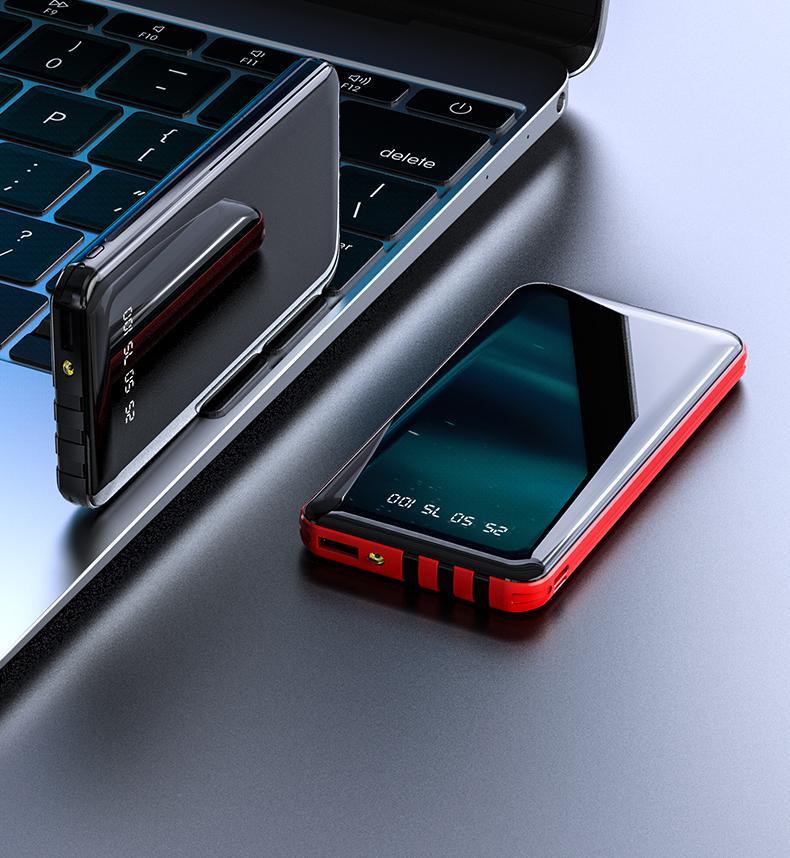 삼성 충전기 MQ20 용 전화 홀더가있는 3 케이블 전체 화면 전원 뱅크 패스트 충전 외장 배터리