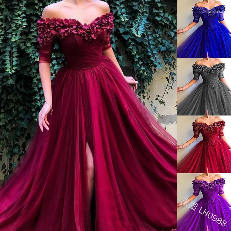 Mesh Lace Wrap estate Lond Dress Plus Size Womens Avvolto torace vestiti da partito Porm solido di colore sposa Maxi abito splendidi abiti Elegante