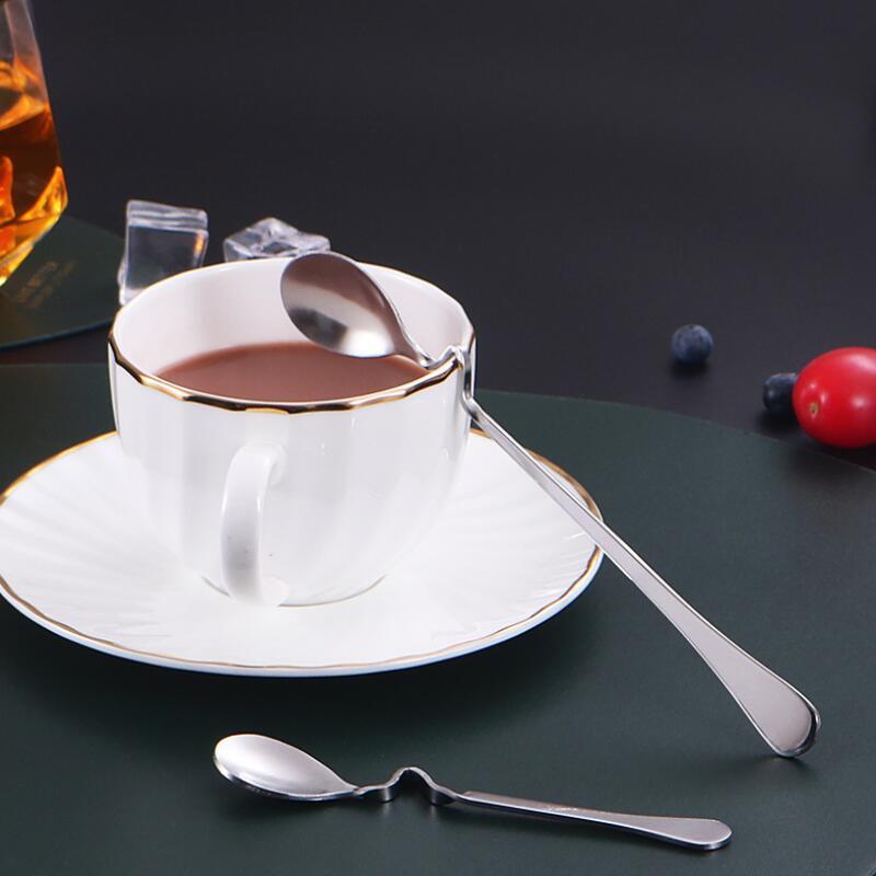 Новый стиль Бент Ложка Творческий Straight висячие Ложка из нержавеющей стали Десерт Кофе Перемешивание Ложки кофе Чайные инструменты быстрой доставки HHC1448