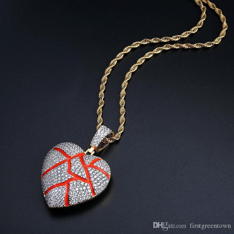 Broken Heart Shape Подвеска циркон Lover ожерелье Европа и Америка горячей продажа