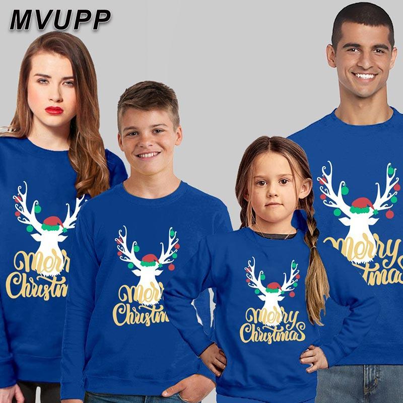 la familia de Navidad a juego pijama de algodón ropa de invierno impresión de la historieta de los ciervos con capucha niños conjunto, papá, mamá, hijo hija bebé niña