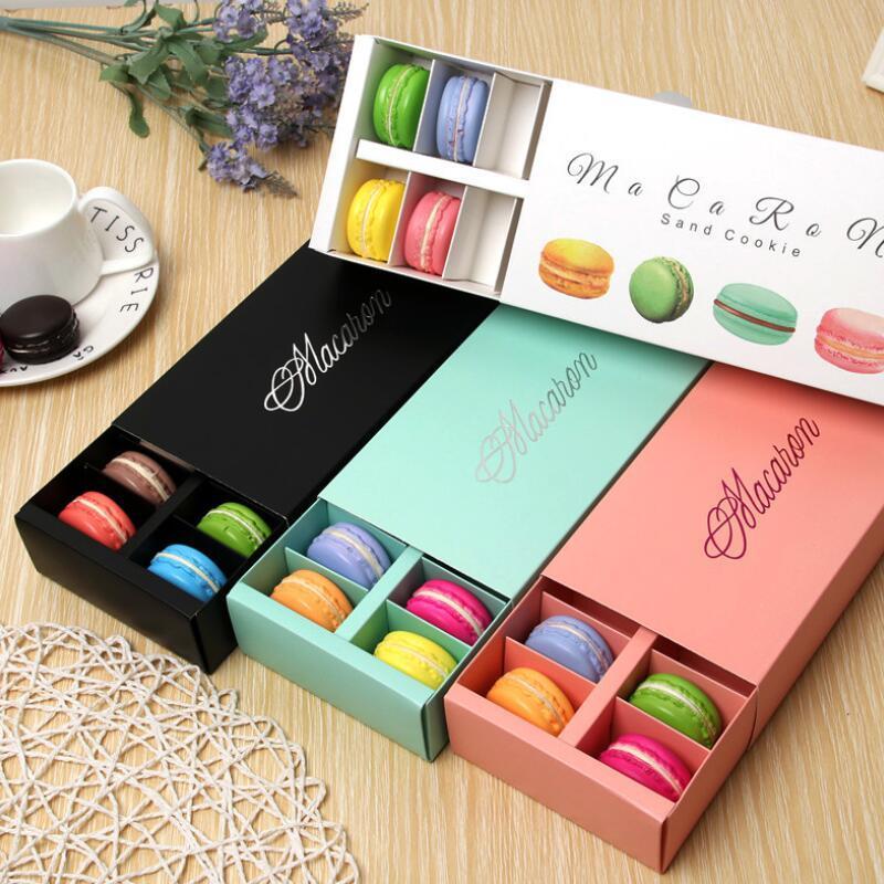 Коробка Macaron удерживает 12 полости 20 * 11 * 5см пищевые упаковки подарки бумажные ящики для хлебобулочных коробок для хлебобулочного кекса с закусками конфеты бисквитная булочка коробка EWF3342