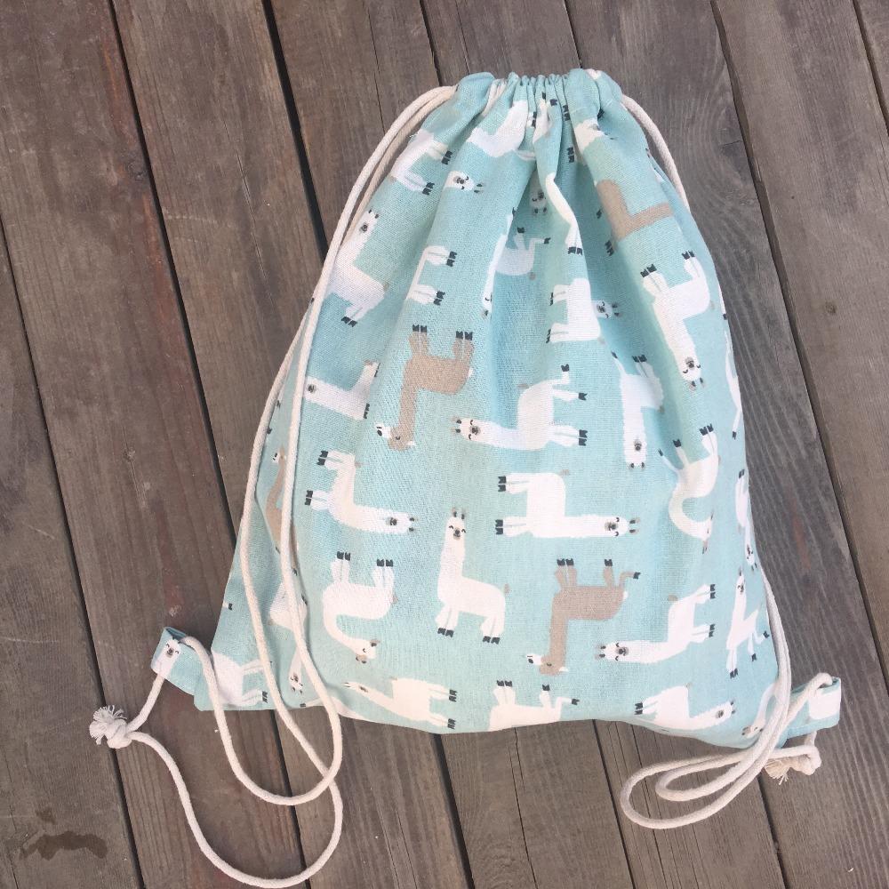 Yile 1pc Pamuk Keten İpli Çok amaçlı sırt çantası Öğrenci Kitabı Çanta Alpaka 9128e yazdır