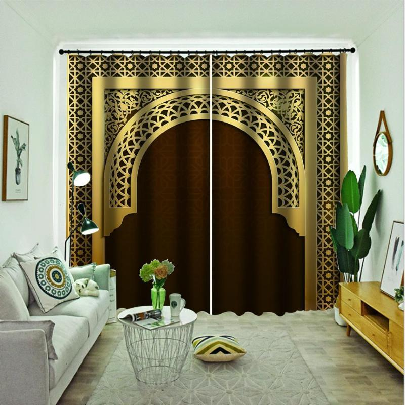 Lujo Europea cortina de la ventana de oro romanas cortinas para la sala de estar dormitorio cortinas opacas cortinas romanas