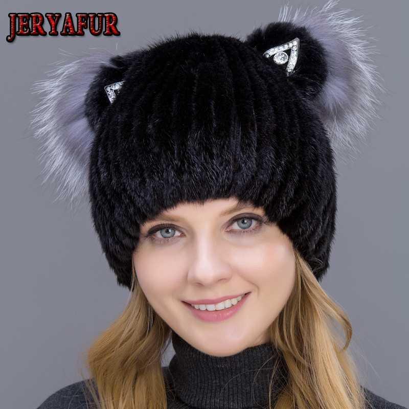 JERYAFUR vrai chapeau pour les femmes chapeau d'hiver avec tissage vertical mignon chapeaux avec des oreilles de chat et de la fourrure