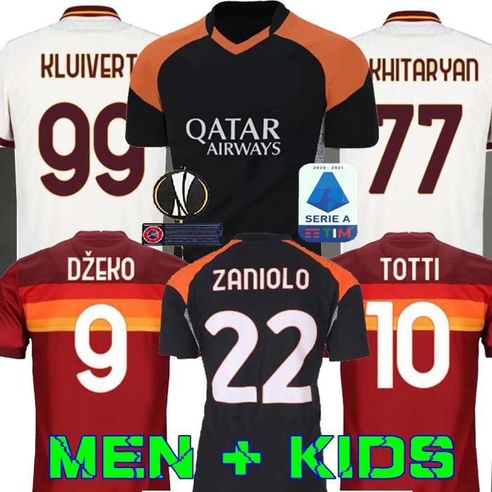 Futebol AS DE ROSSI ROMA DZEKO Zaniolo roma TOTTI PEROTTI Kolarov 20 21 futebol camisa 2020 2021 uniformes kit Homens crianças maillot terceiro