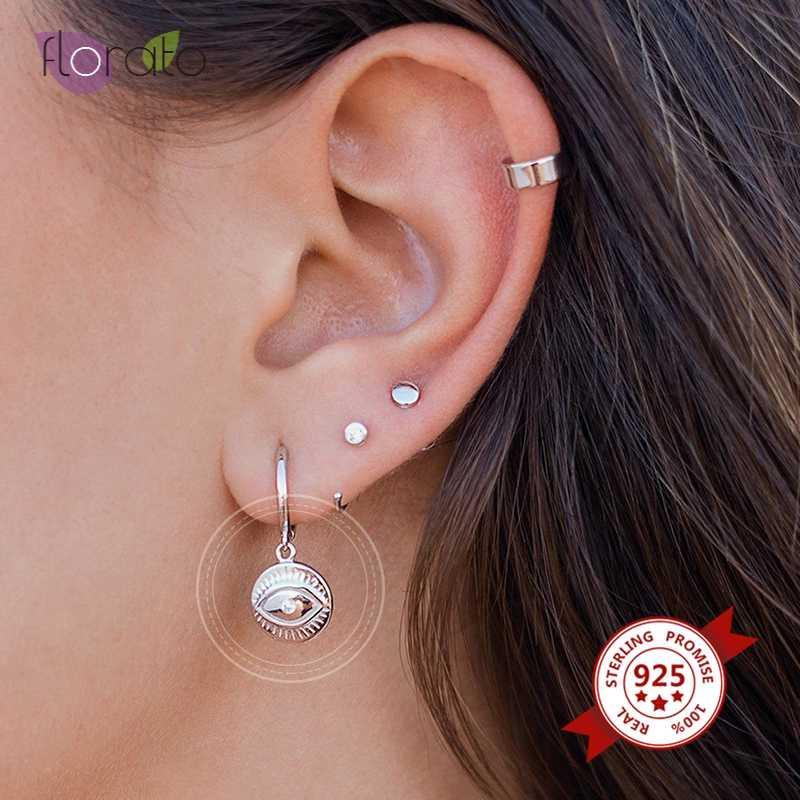 Moda Argento 925 Eye a forma di ciondolo CZ orecchini a cerchio in oro di cristallo Donne affascinante colore argento Piccolo Hoop Earings