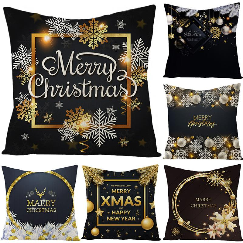 45*45cm Snow Christmas Black Gold Pillowcase 2021 Christmas Decor for Home Ornaments Xmas Pendant Christma Gifts Happy New Year