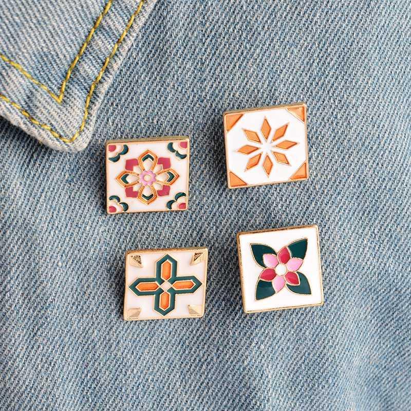 Colorful Flower Pin Piastrelle per le donne smalto Spille Borsa degli uomini di modo camicia di jeans Pins distintivi del tasto creativo gioielli