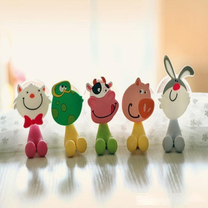 Belle Porte-brosse à dents Cartoon Cup Famille d'animaux crochets multi-fonction Sucker Pig Pet Lapin PVC soutien