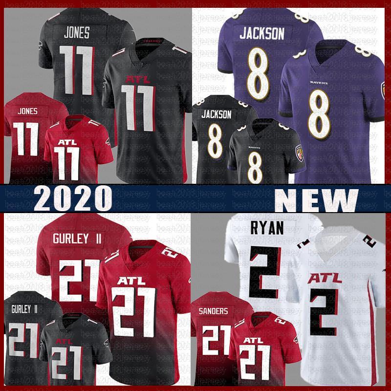 8 Lamar Jackson 11 Julio Jones Jersey de fútbol 21 Todd Gurley II 21 Deion Sanders 2 Matt Ryan BaltimorecuervosAtlantaFalcons