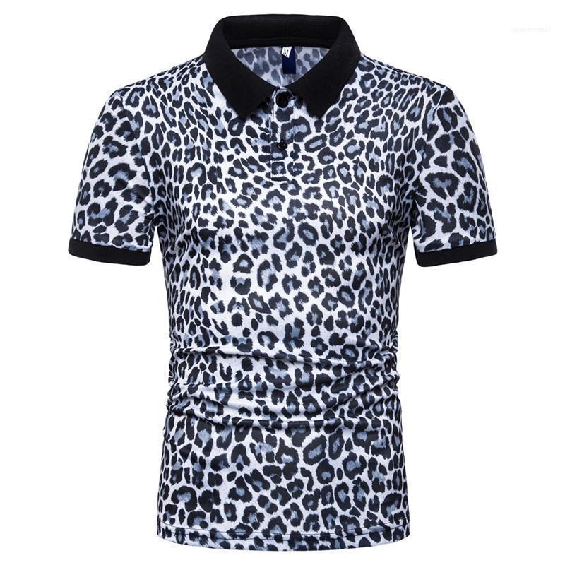 Erkek Günlük Moda Tişört Tees Kısa Sleeve 2020 Erkekler Leopar Polo Yaz Designer Tops