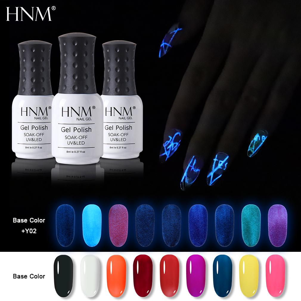 HNM 8ML fluorescent lumineux Gel Vernis à ongles Phosphorescent LED noir Lampe UV Soak Off Gel manucure Primer Polish Nail Art