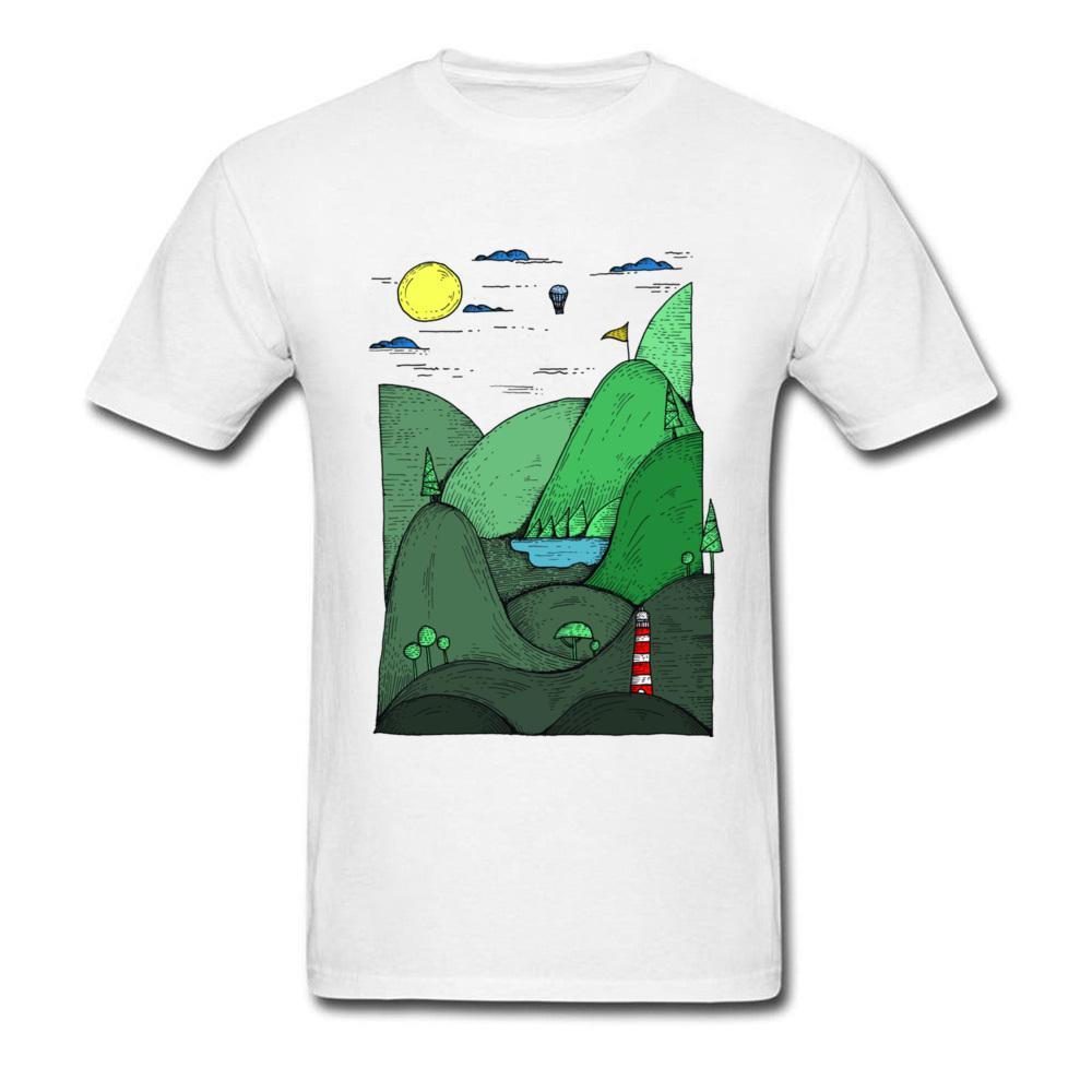 Çizim Rüya Wonderland erkekler beyaz tişört Taze Yeşil Kara Dağ Kısa Kollu T Shirt Casual Pamuk Tees yazdır