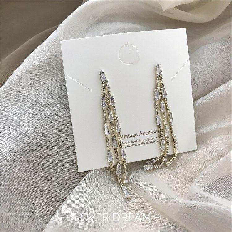 elegante strass nappa delle donne coreane 1cFhV strass e orecchini celebrità linea orecchini a faccia in riparazione del tutto-fiammifero Silver Needle
