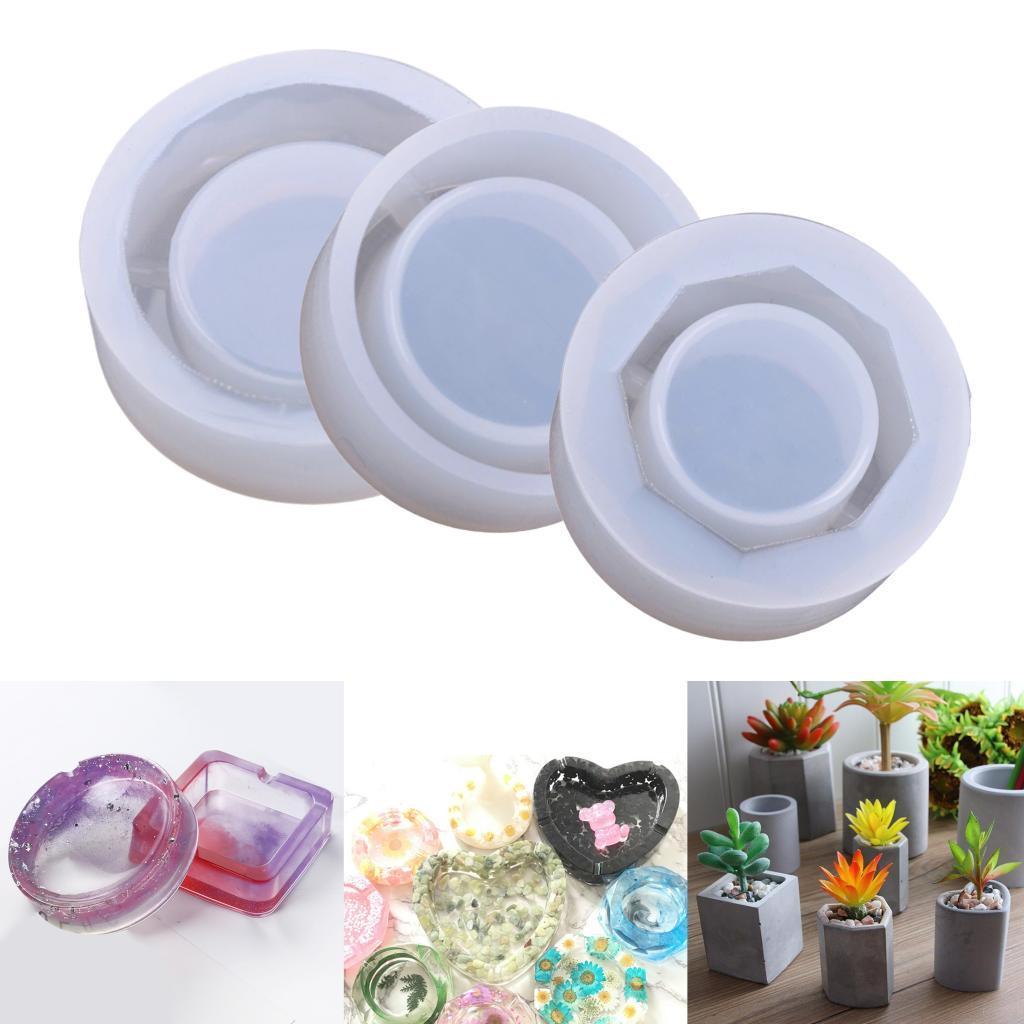 Cinzeiro Mold Epoxy Resina resultados da jóia DIY fazer ferramentas de Silicone ornamento Moldes para Vasos Soap Candle Making Tools