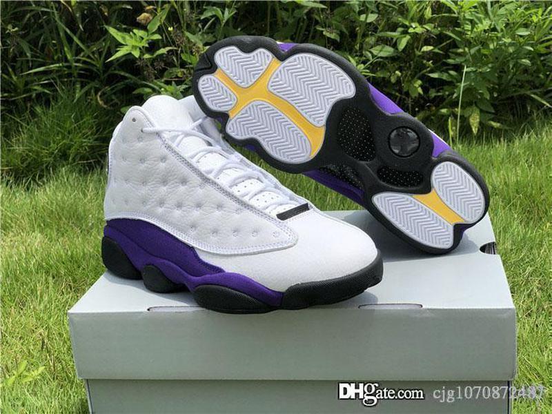 Yeni Üst Hava Otantik 13 Lakers Beyaz Siyah Mahkemesi Mor Retro Rakipler 13s XIII Basketbol Ayakkabıları Gerçek Karbon Elyaf Spor Sneakers ile Kutusu