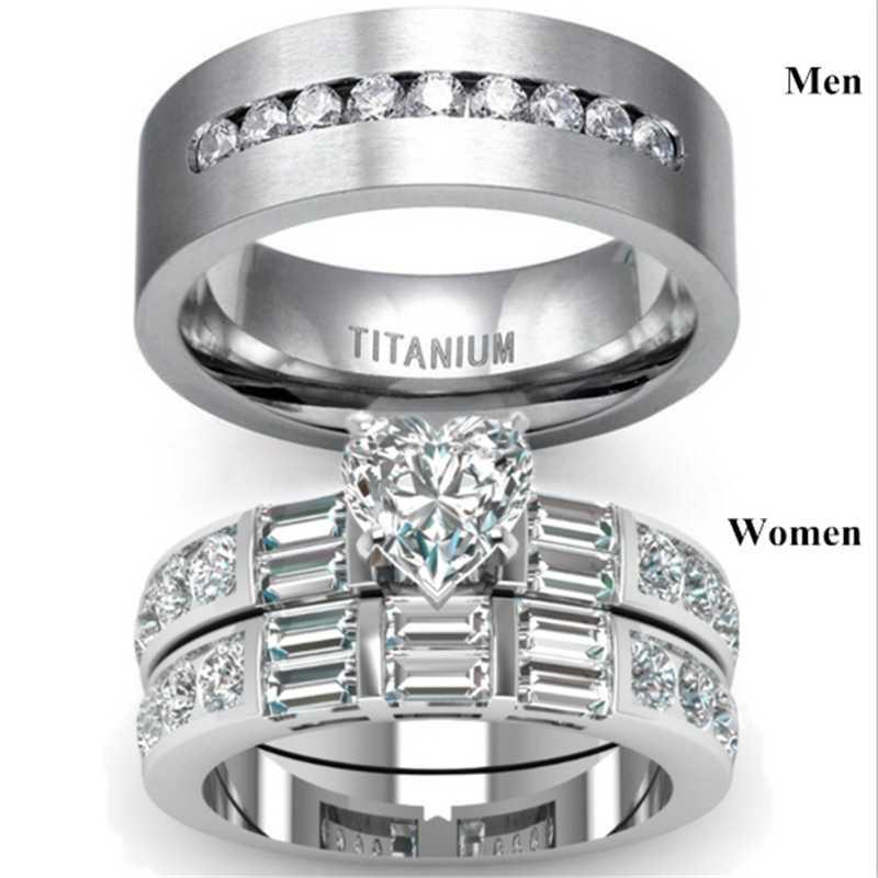 Fashion luxury women full set heart-shaped zircon ring set men couple engagement wedding Valentine's day gift jewelry wholesale