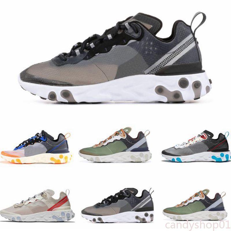 Nouveau réagir élément 55 87 chaussures de course hommes femmes WHITE ROYAL RED triple noir coureurs sneakers sport formateur hommes Orange Peel de C01
