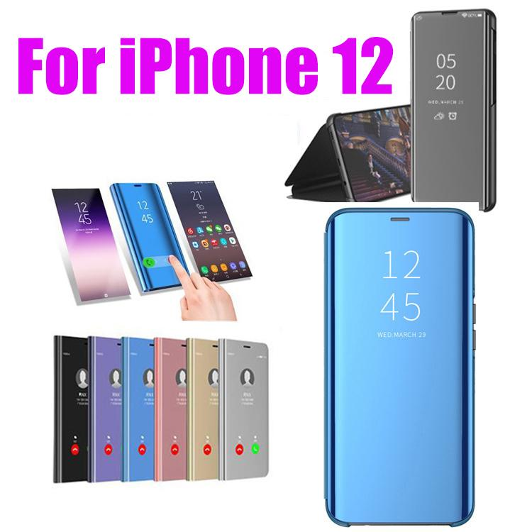 Official Metallic Plating Smart Mirror Window View Stand Flip Cover Case For Iphone 12 Pro Max 11 Xs Xr X 8 7 6 6s Plus Se 2020 Shockproof Leather Phone Cases Cell