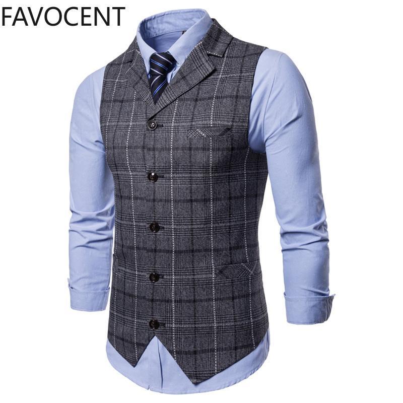 Yeni Erkek Yelek Casual İş Erkekler Suit Yelek Erkek Kafes Yelek Moda Erkek Kolsuz Suit Vest Akıllı Casual Top Gri Mavi 200922