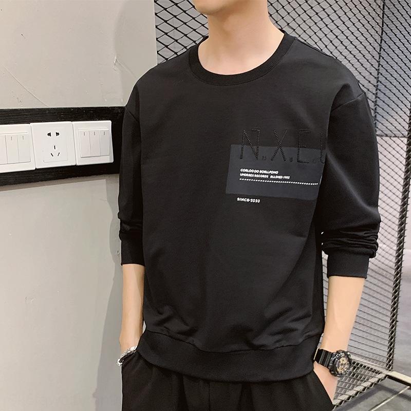 2020 printemps nouvelle base manches mode décontractée coréenne sport tout-match cou chandail rond hommes pull longues hommes pull chemise TDLSz