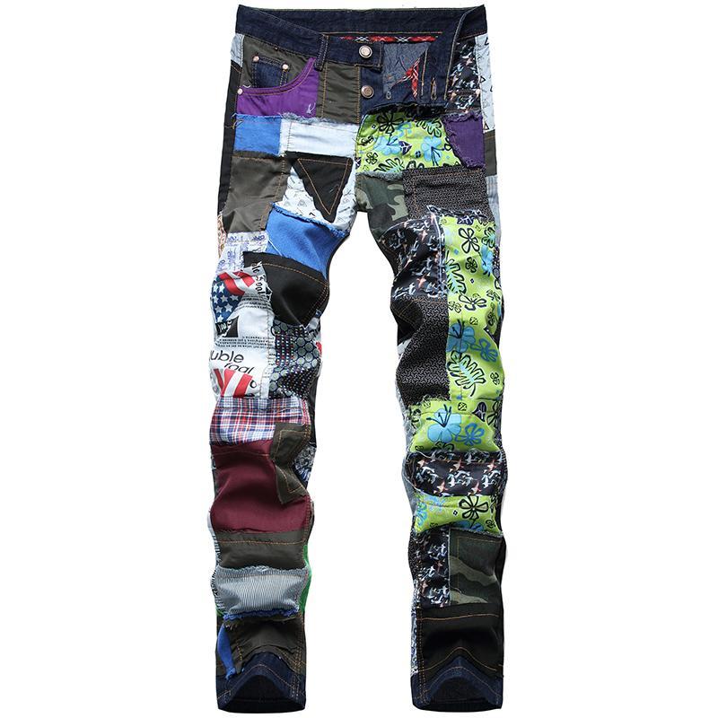 Jeans Denim Homme nouvelle tendance marque petit jean slim droites hip hop refroidissent coutures en tissu coloré lavé jean denim taille plus