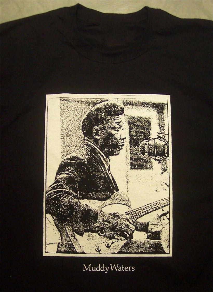 Muddy Waters Studio Vintage Stil Tişörtlü Blues Telecaster Gitar S-5Xlg Blk Yaz Stili Tee Gömlek