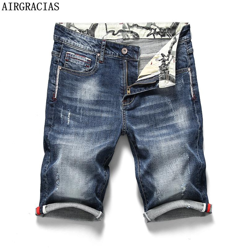 AIRGRACIAS Summer New Men's Stretch Short Jeans Fashion Casual 98% cotton High Quality Elastic Denim Shorts Brand Clothes 200924