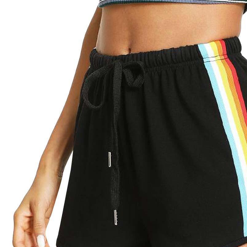 Летний Корейский Street Style Женщины Радуга печати Спорт Упругие Короткие штаны Горячая продажа Пляжная одежда высокой талией Черный Шорты для женских