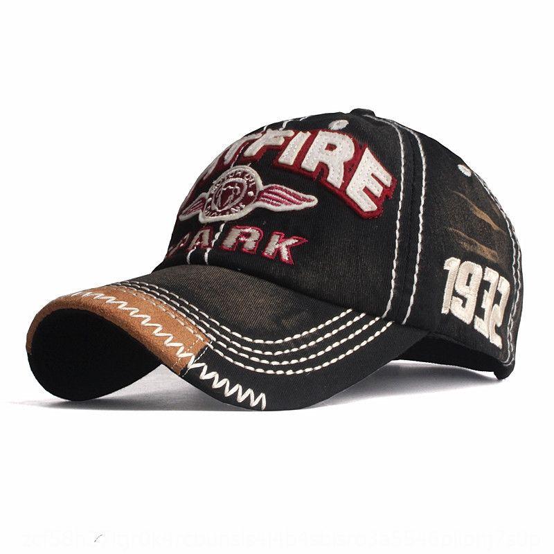 ricamato cappello 9REbD calda di vendita lavato baseball di punta berretto da baseball del cotone degli uomini di stoffa ha alzato il cappello del sole della protezione