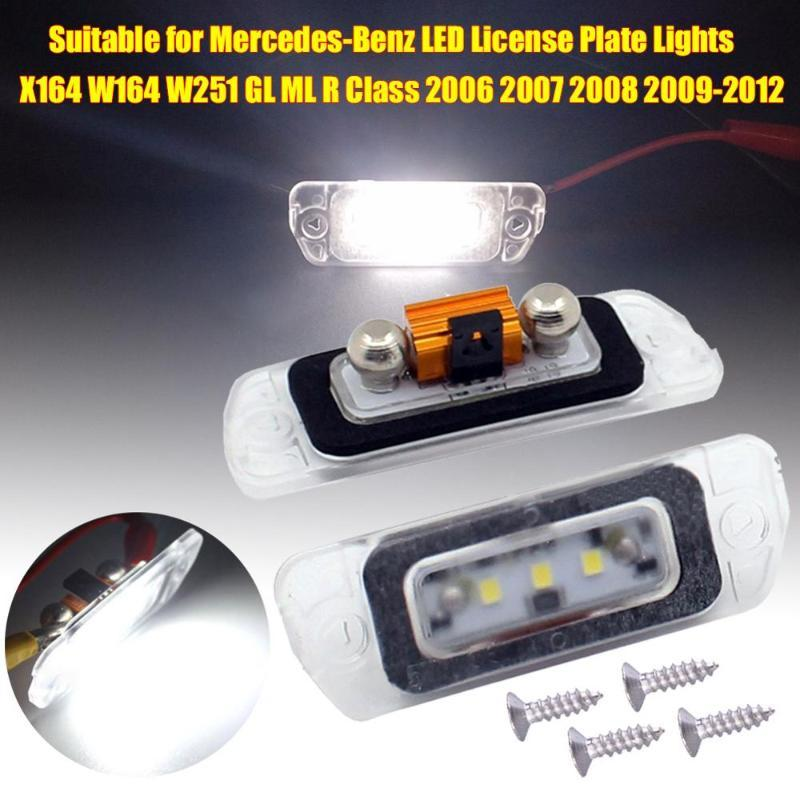 1 Pair LED License Plate Lights for X164 W164 W251 GL ML R Class 2006 2007 2008 2009-2012