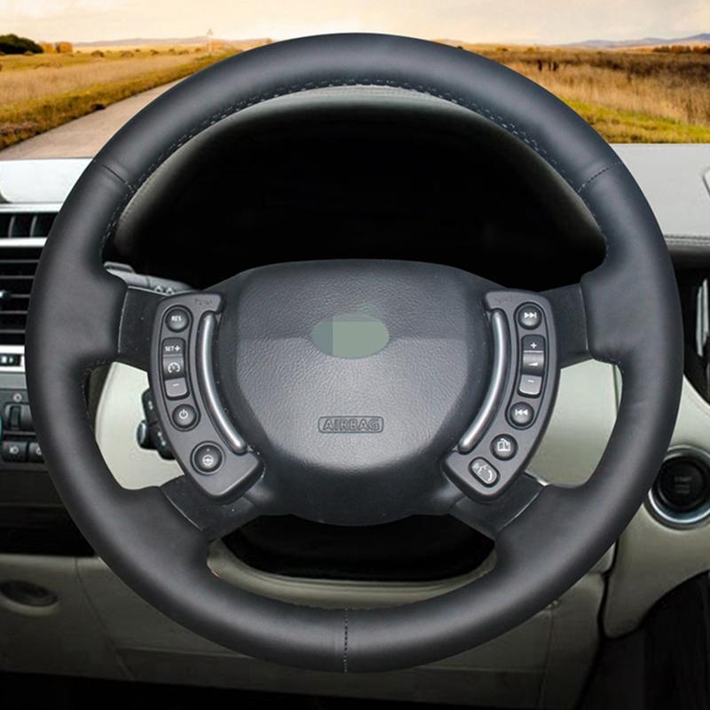 DIY mão-costurado preto Artificial Car Couro cobertura de volante para Land Rover Range Rover 2003-2012