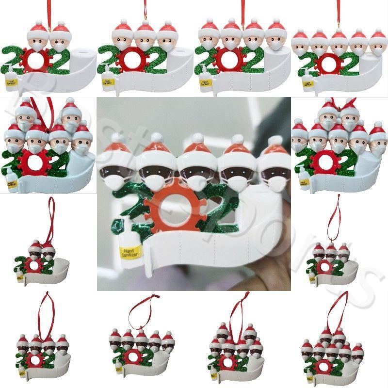 Resina Ornamento dell'albero di Natale 2020 Natale ornamenti d'attaccatura di Babbo Natale in famiglia Xmas Party Ciondolo Decorazione YYA472 50pcs